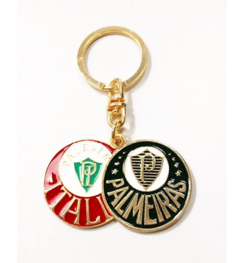 Chaveiro Histórico Escudo Duplo Palestra Itália e Palmeiras Dourado