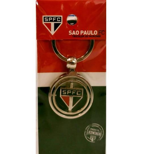 Chaveiro Histórico Rotativo Escudo São Paulo Atual Prateado