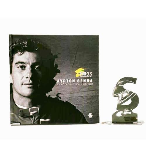 Kit Ayrton Senna - Estátua A Concentração + Livro Ayrton Senna Um Herói Moldado de Alma, Coração e Aço!
