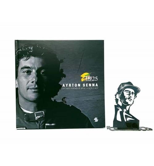 Kit Ayrton Senna - Estátua A Determinação + Livro Ayrton Senna Um Herói Moldado de Alma, Coração e Aço!