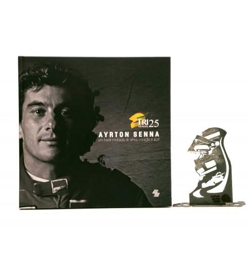 Kit Ayrton Senna - Estátua O Senhor da Chuva + Livro Ayrton Senna Um Herói Moldado de Alma, Coração e Aço!