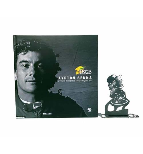 Kit Ayrton Senna - Estátua O Rei de Mônaco + Livro Ayrton Senna Um Herói Moldado de Alma, Coração e Aço!