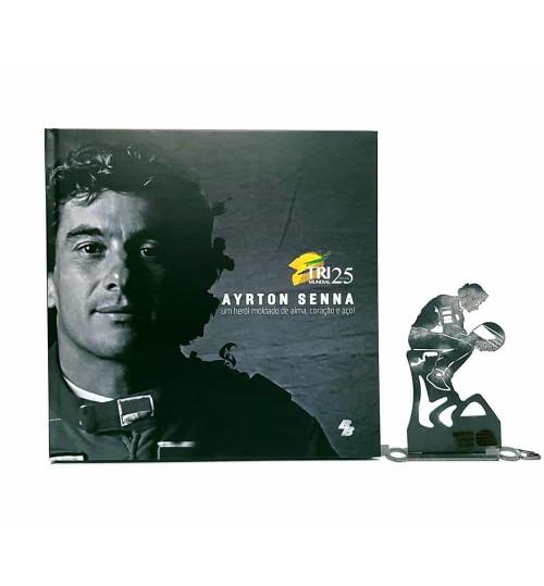 Kit Ayrton Senna - Estátua O Samurai Tupiniquim + Livro Ayrton Senna Um Herói Moldado de Alma, Coração e Aço!