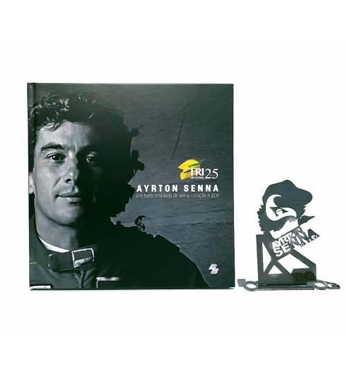 Kit Ayrton Senna - Estátua Silvastone + Livro Ayrton Senna Um Herói Moldado de Alma, Coração e Aço!