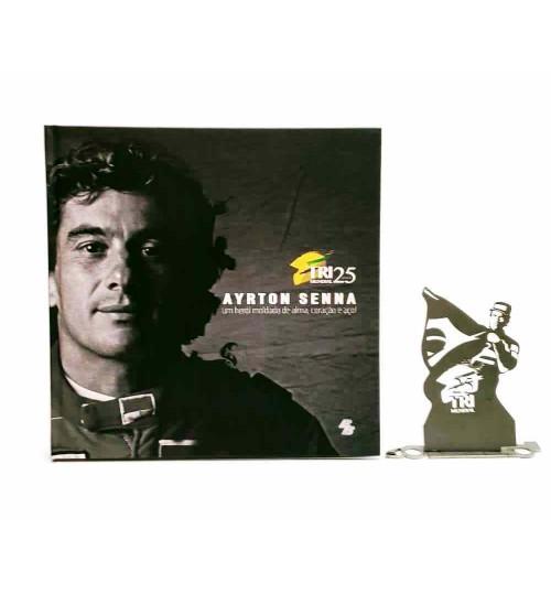 Kit Ayrton Senna - Estátua Tricampeão - 25 Anos do Tricampeonato + Livro Ayrton Senna Um Herói Moldado de Alma, Coração e Aço!