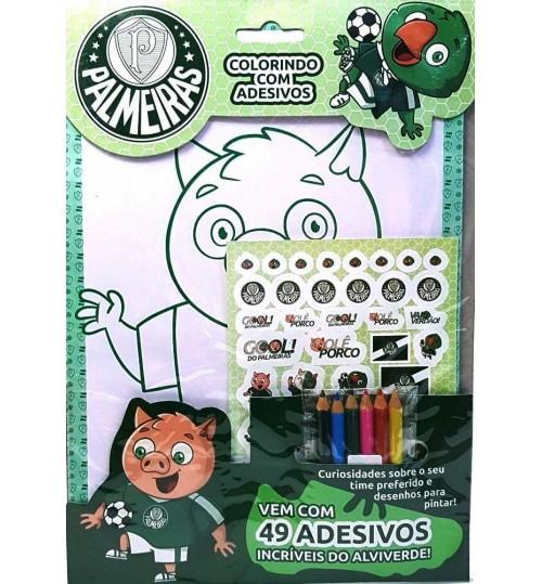 Kit Palmeiras Colorindo com Adesivos - Grátis Lápis de Cor