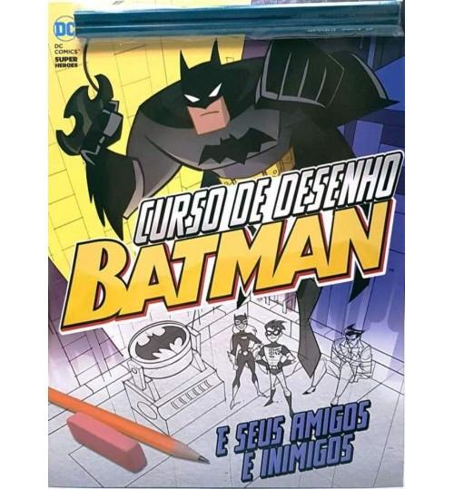 Revista Guia Curso de Desenho Batman e Seus Amigos e Inimigos Gratis 2 Lápis Pretos