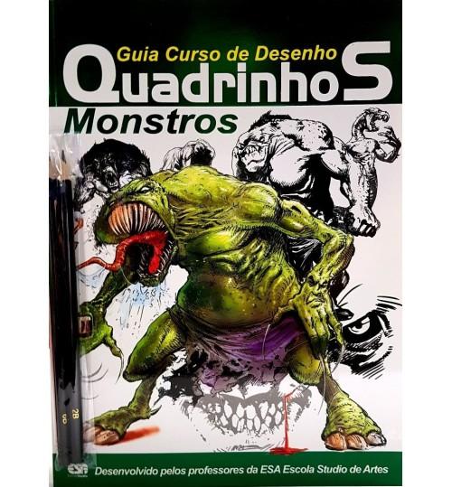 Revista Guia Curso de Desenho Quadrinhos Monstros Gratis 2 Lápis Pretos