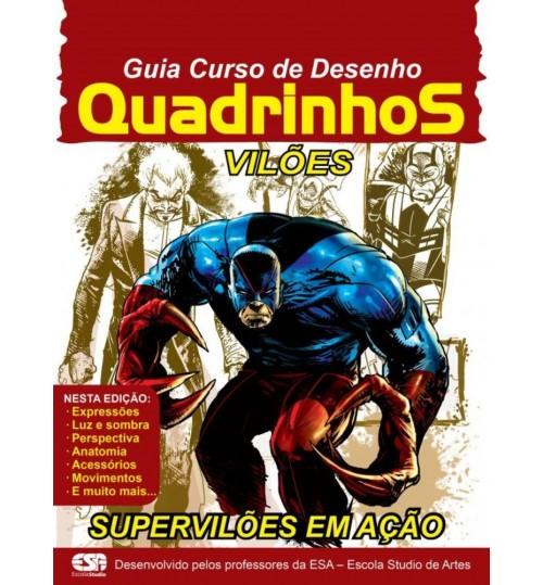Revista Guia Curso de Desenho Quadrinhos Vilões Supervilões em Ação Grátis 2 Lápis Pretos
