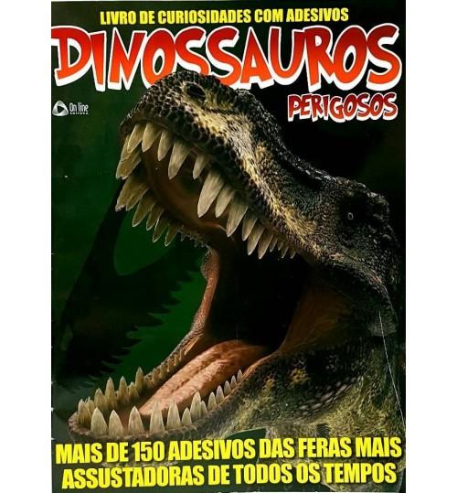 Livro de Curiosidades com Adesivos Dinossauros Perigosos com mais de 150 Adesivos