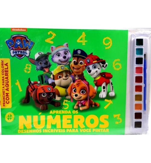 Prancheta para Colorir com Aquarela Patrulha Canina, Aprenda os Números Desenhos Incríveis para você Pintar