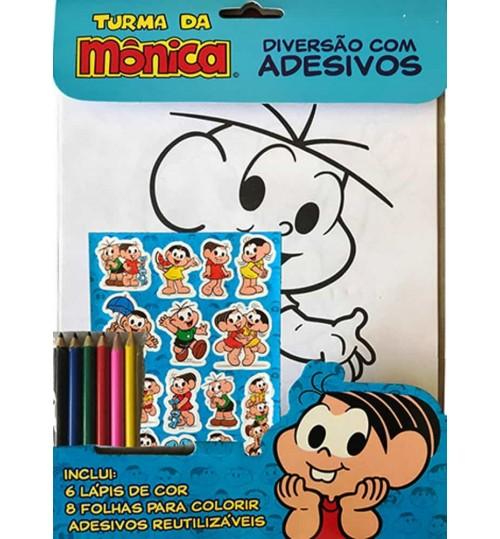 Kit Turma da Monica - Diversão com Adesivos e Lápis de Cor Grátis