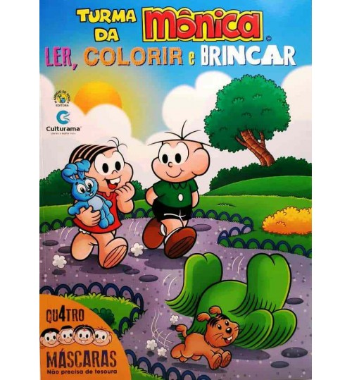 Livro Turma da Mônica Ler, Colorir e Brincar Com 4 Mascaras Grátis