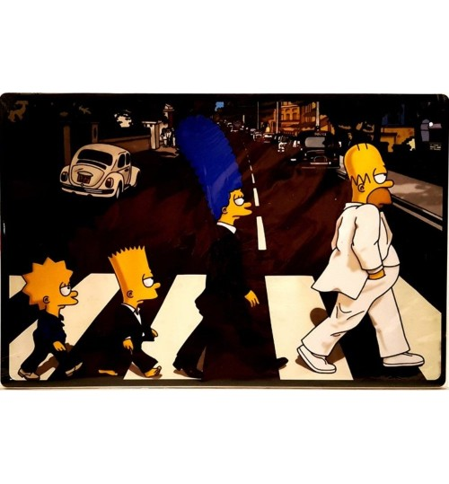 Quadro Retrô Os Simpsons - Abbey Road - The Beatles