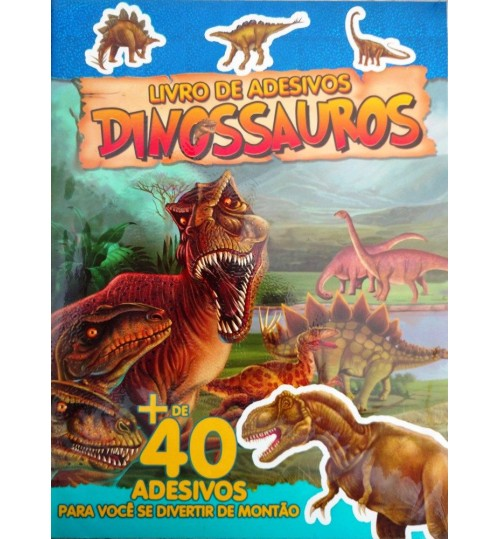 Livro de Adesivos Dinossauros com mais de 40 Adesivos