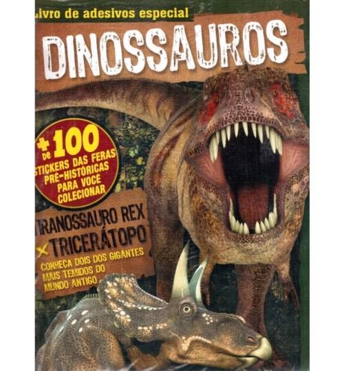 Livro de Adesivos Especiais Dinossauros com mais de 100 Adesivos