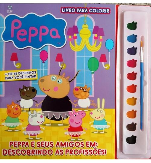 Livro para Colorir Peppa e Seus Amigos Em Descobrindo as Profissões