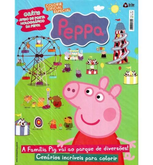 Revista Colorir Especial Peppa Pig - GRÁTIS Aviso de Porta Holográfico