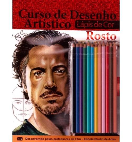 Revista Guia Curso de Desenho Artístico Rosto + Kit Lápis de cor GRÁTIS
