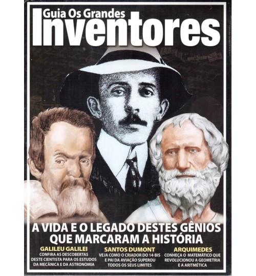 Revista Guia Os Grandes Inventores, Santos Dumont, Galileu Galilei e Arquimedes
