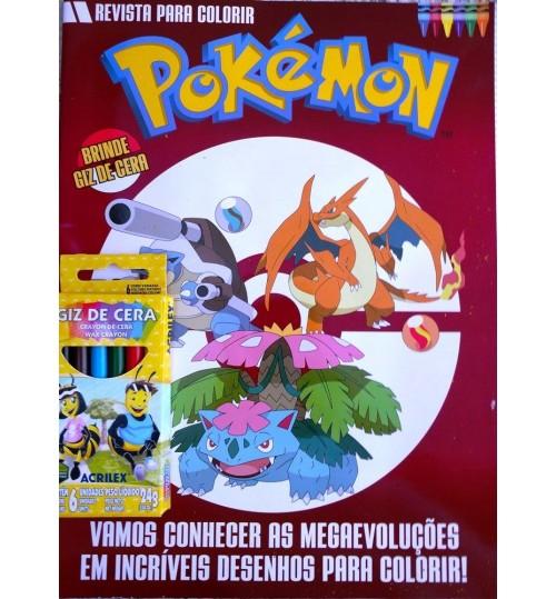 Revista para Colorir Pokémon - Grátis Giz de Cera
