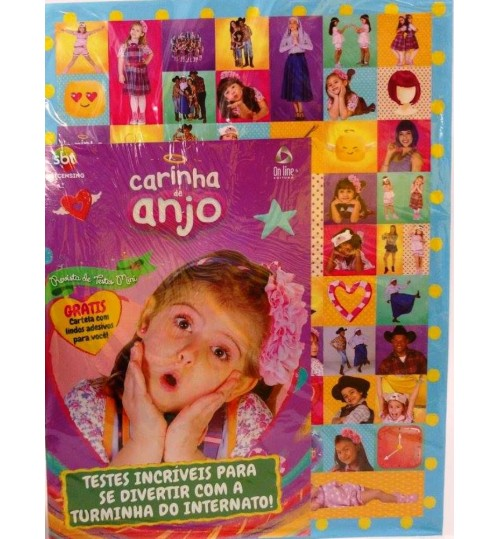 Revista de Testes Mini Carinha de Anjo Grátis cartela de adesivos